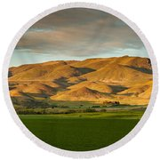 West Side Of Squaw Butte Round Beach Towel