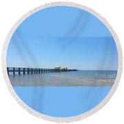 West Side Pier Gulfport Mississippi Round Beach Towel