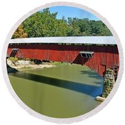West Union Covered Bridge 2 Round Beach Towel