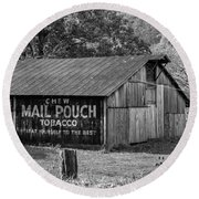 West Virginia Barn Monochrome Round Beach Towel