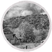 West Virginia Barns Monochrome Round Beach Towel