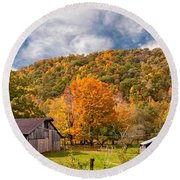 West Virginia Barns  Round Beach Towel