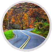 West Virginia Curves 2 Round Beach Towel