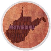 West Virginia State Word Art On Canvas Round Beach Towel by Design Turnpike
