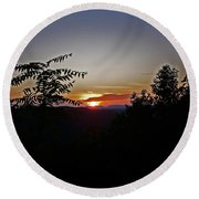 West Virginia Sunset 1 Round Beach Towel
