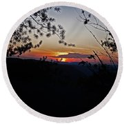 West Virginia Sunset 2 Round Beach Towel