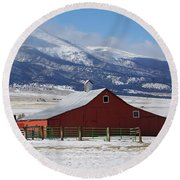 Westcliffe Landmark - The Red Barn Round Beach Towel