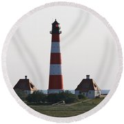 Westerhebersand Lighthouse  I- North Sea - Germany Round Beach Towel