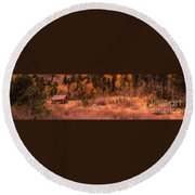 Western Barn At Sunset Iv Round Beach Towel