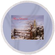Western Christmas Round Beach Towel