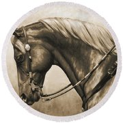 Western Horse Painting In Sepia Round Beach Towel