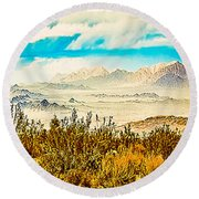 Western Panorama From Mountain At Joshua Tree National Park Round Beach Towel
