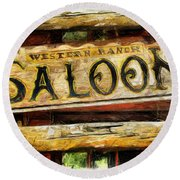 Western Saloon Sign - Drawing Round Beach Towel