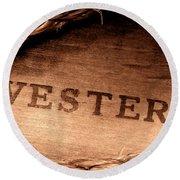 Western Stamp Branding Round Beach Towel