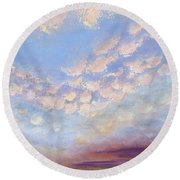 Western Sunset Round Beach Towel