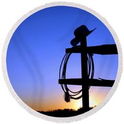 Western Sunset Round Beach Towel by Olivier Le Queinec