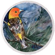 Western Tanager At Mt. Falcon Park Round Beach Towel