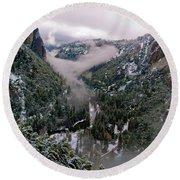 Western Yosemite Valley Round Beach Towel by Bill Gallagher