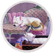 Westies Home Round Beach Towel