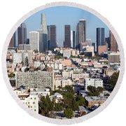 Westlake And Los Angeles Skyline Round Beach Towel