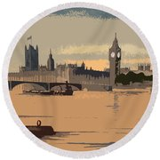 Westminster And Big Ben  Round Beach Towel