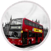 Westminster And Red Bus Round Beach Towel
