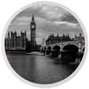 Westminster Pano Bw Round Beach Towel