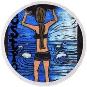 Westport Surfer Chick Round Beach Towel