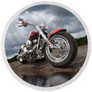 Wet And Wild - Harley Screamin' Eagle Reflection Round Beach Towel
