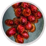 Wet Grapes Four Round Beach Towel by Bob Orsillo