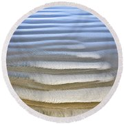 Wet Sand Texture On Ocean Shore Round Beach Towel