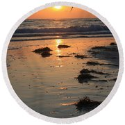 Wet Sunset Round Beach Towel