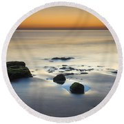 Wet Sunset Reflections Round Beach Towel