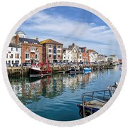 Weymouth Harbour Round Beach Towel