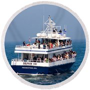 Whale Watching Boat Round Beach Towel