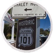 Whaley House Us Hwy 101 Historic Route Round Beach Towel