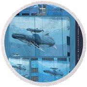 Whaling Wall 42 -  East Coast Humpbacks - Original Painting By Wyland Round Beach Towel
