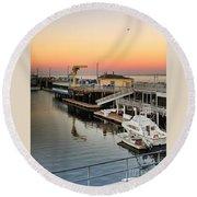 Wharf #2 In Monterey At Sunset Round Beach Towel