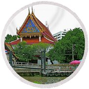 Wharf Along Waterway Of Bangkok-thailand Round Beach Towel