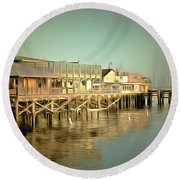 Fishermans Wharf Monterey California Round Beach Towel