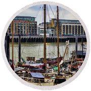 Wharf Ships Round Beach Towel by Heather Applegate