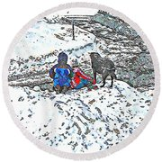 What Fascinates Children And Dogs -  Snow Day - Winter Round Beach Towel