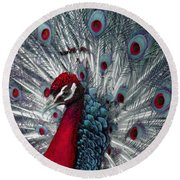 What If - A Fanciful Peacock Round Beach Towel