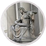 What Is Past Is Prologue Statue At National Archives -- 2 Round Beach Towel