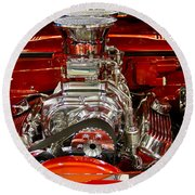 What Is Under The Hood-red Customized Retro Pontiac Round Beach Towel