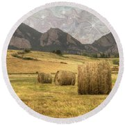 What The Hay Round Beach Towel by Juli Scalzi