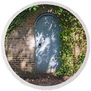 What's Behind The Gate? Round Beach Towel
