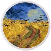 Wheat Field With Crows Round Beach Towel