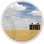 Wheat Fields Round Beach Towel