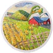 Wheat Harvest Kamouraska Quebec Round Beach Towel by Patricia Eyre